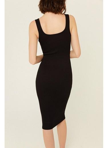 Rue Fermuar Detaylı Vücuda Oturan Elbise Siyah